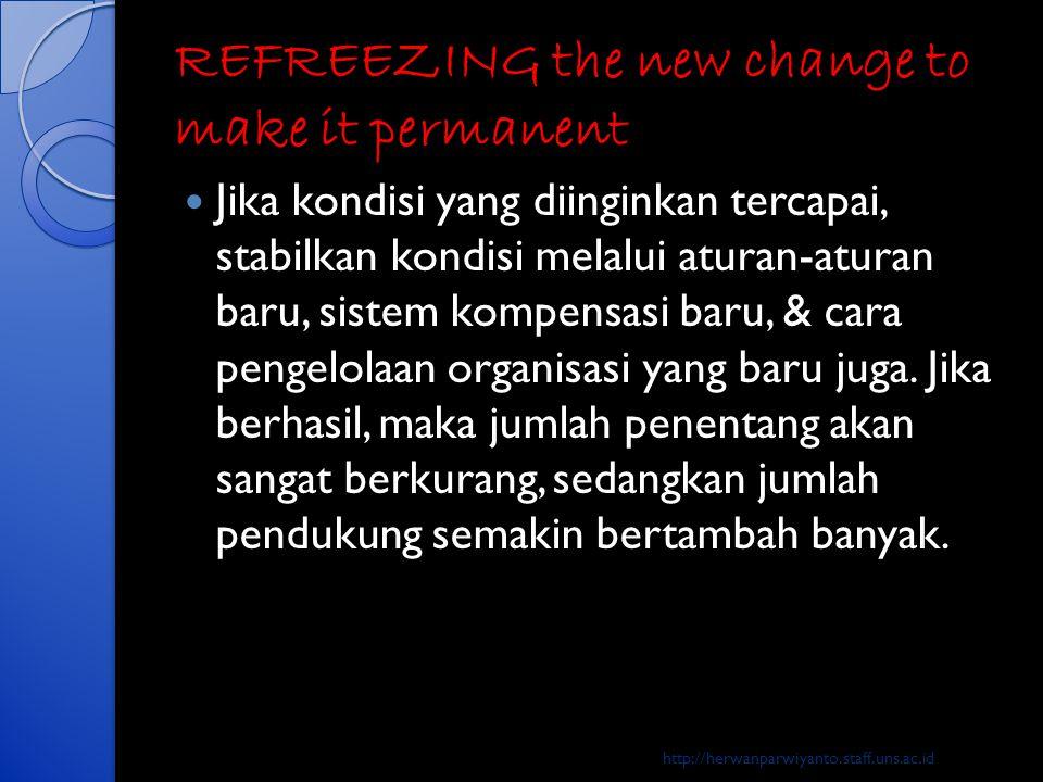 REFREEZING the new change to make it permanent  Jika kondisi yang diinginkan tercapai, stabilkan kondisi melalui aturan-aturan baru, sistem kompensas