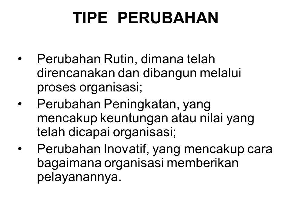 TIPE PERUBAHAN •Perubahan Rutin, dimana telah direncanakan dan dibangun melalui proses organisasi; •Perubahan Peningkatan, yang mencakup keuntungan at