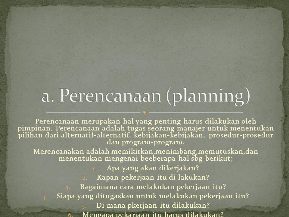 Perencanaan merupakan hal yang penting harus dilakukan oleh pimpinan.