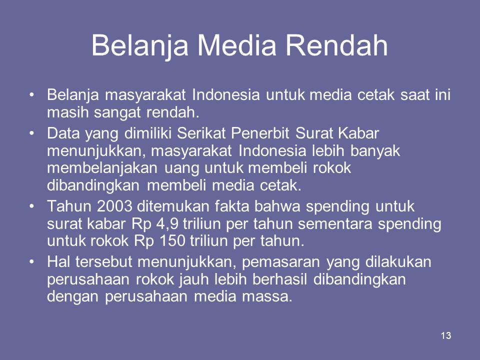 13 Belanja Media Rendah •Belanja masyarakat Indonesia untuk media cetak saat ini masih sangat rendah. •Data yang dimiliki Serikat Penerbit Surat Kabar