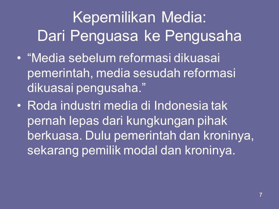"""7 Kepemilikan Media: Dari Penguasa ke Pengusaha •""""Media sebelum reformasi dikuasai pemerintah, media sesudah reformasi dikuasai pengusaha."""" •Roda indu"""