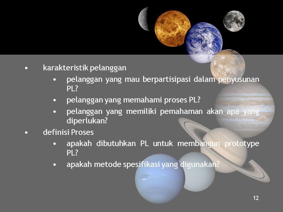 •karakteristik pelanggan •pelanggan yang mau berpartisipasi dalam penyusunan PL? •pelanggan yang memahami proses PL? •pelanggan yang memiliki pemahama