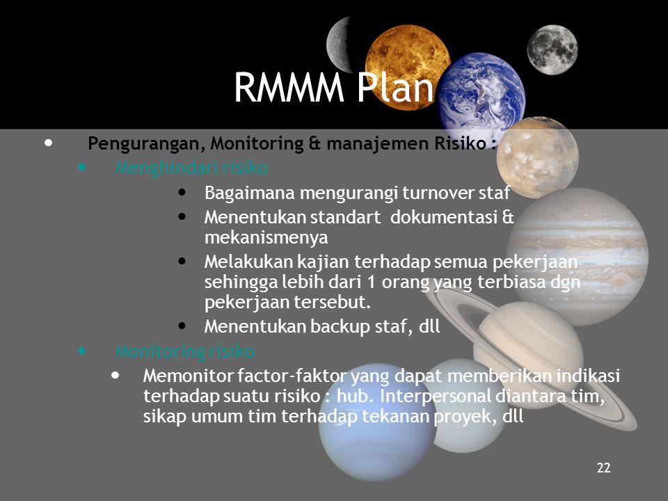RMMM Plan  Pengurangan, Monitoring & manajemen Risiko :  Menghindari risiko  Bagaimana mengurangi turnover staf  Menentukan standart dokumentasi &