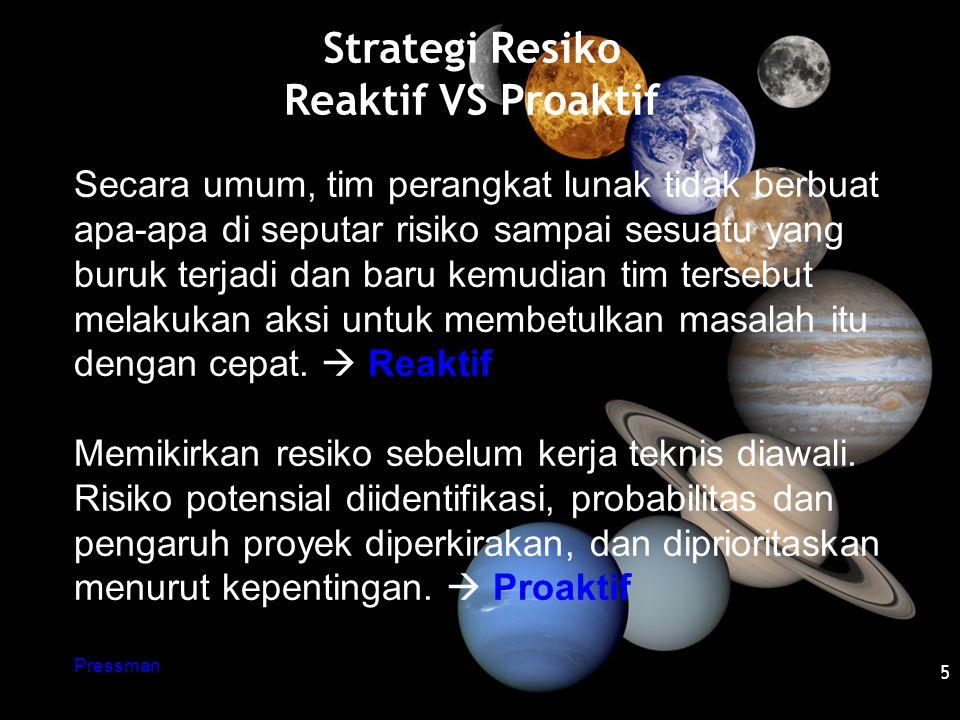 Strategi Resiko Reaktif VS Proaktif 5 Secara umum, tim perangkat lunak tidak berbuat apa-apa di seputar risiko sampai sesuatu yang buruk terjadi dan b
