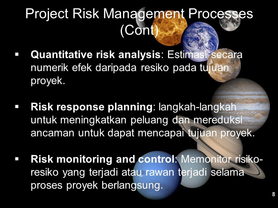 Project Risk Management Processes (Cont)  Quantitative risk analysis: Estimasi secara numerik efek daripada resiko pada tujuan proyek.  Risk respons