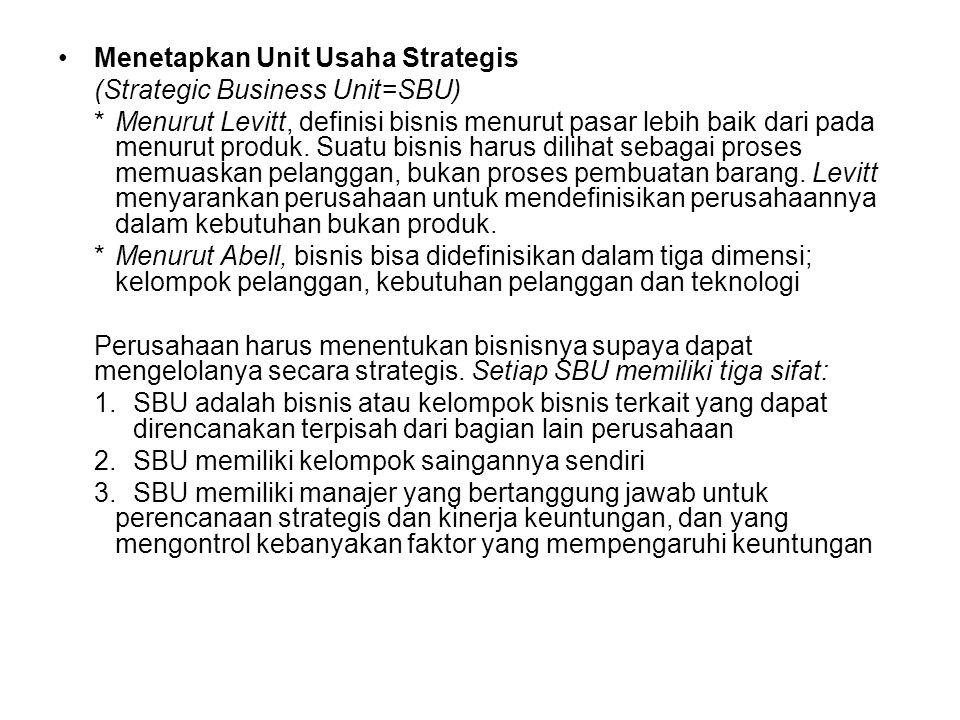 •Langkah-langkah dalam perencanaan strategis: Tingkat korporasi: 1.Menetapkan misi perusahaan 2.Menetapkan tujuan dan sasaran perusahaan 3.Merancang p