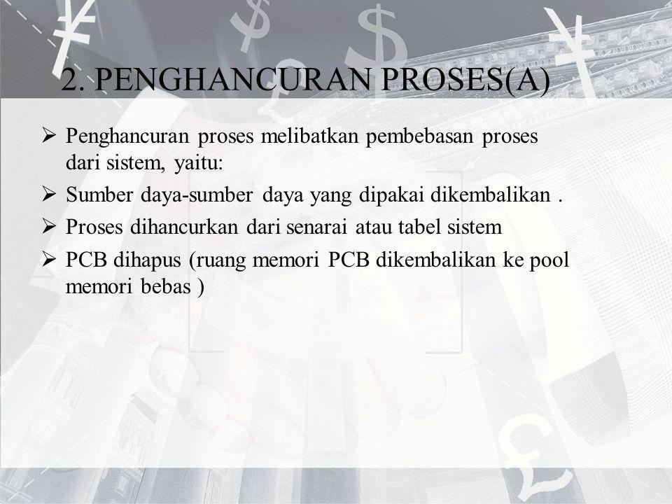 2. PENGHANCURAN PROSES(A)  Penghancuran proses melibatkan pembebasan proses dari sistem, yaitu:  Sumber daya-sumber daya yang dipakai dikembalikan.