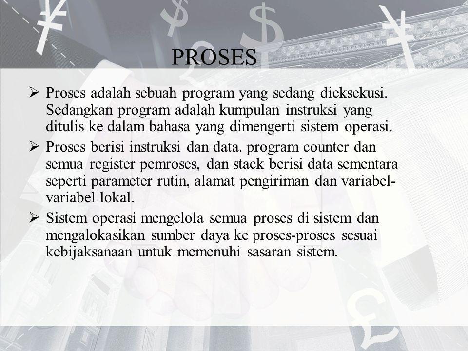 PROSES  Proses adalah sebuah program yang sedang dieksekusi. Sedangkan program adalah kumpulan instruksi yang ditulis ke dalam bahasa yang dimengerti