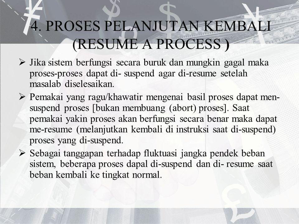 4. PROSES PELANJUTAN KEMBALI (RESUME A PROCESS )  Jika sistem berfungsi secara buruk dan mungkin gagal maka proses-proses dapat di- suspend agar di-r