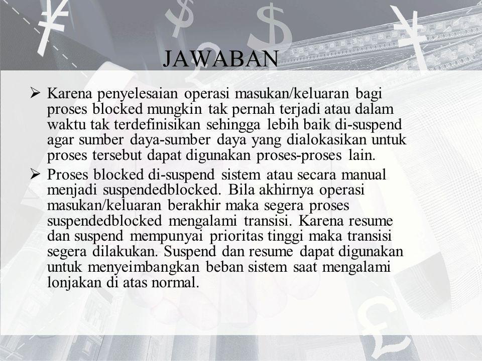 JAWABAN  Karena penyelesaian operasi masukan/keluaran bagi proses blocked mungkin tak pernah terjadi atau dalam waktu tak terdefinisikan sehingga leb