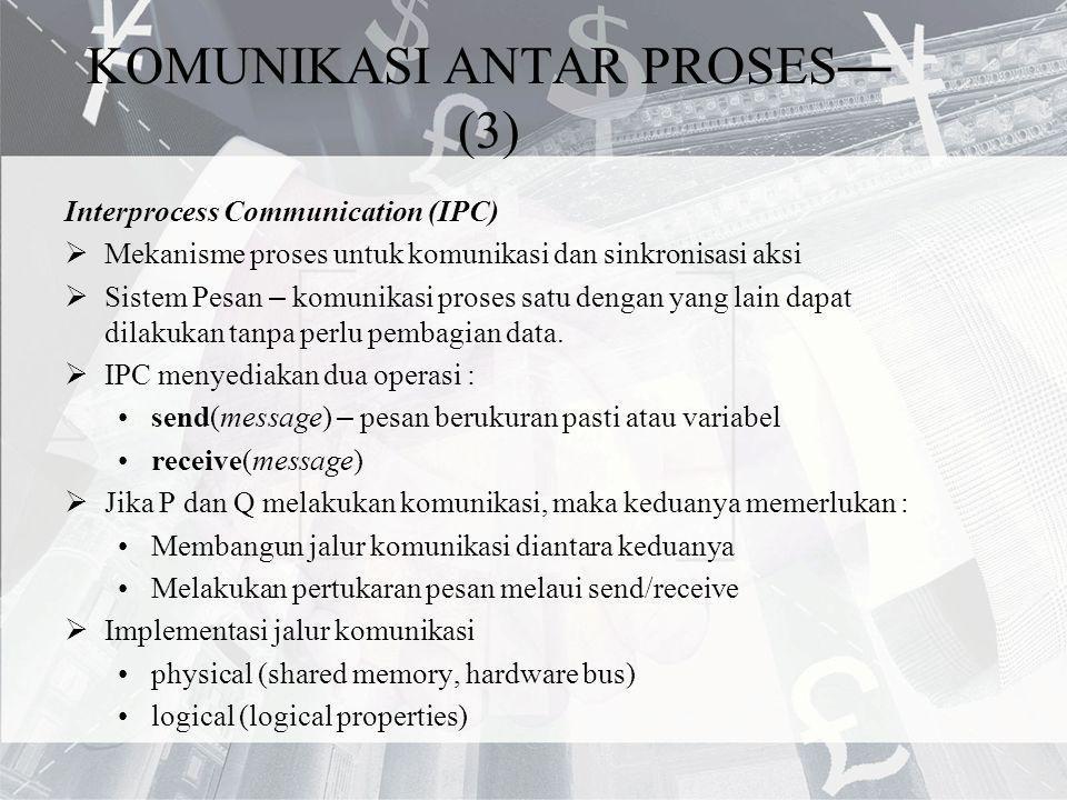 KOMUNIKASI ANTAR PROSES — (3) Interprocess Communication (IPC)  Mekanisme proses untuk komunikasi dan sinkronisasi aksi  Sistem Pesan – komunikasi p