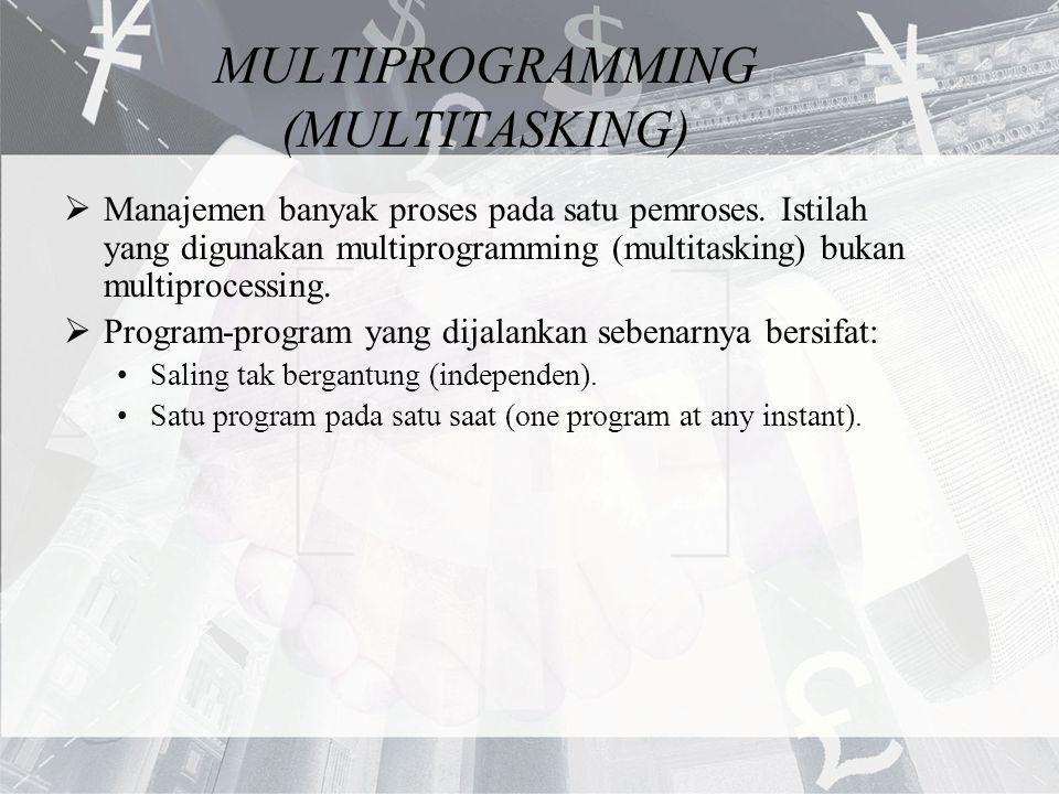MULTIPROGRAMMING (MULTITASKING)  Manajemen banyak proses pada satu pemroses. Istilah yang digunakan multiprogramming (multitasking) bukan multiproces
