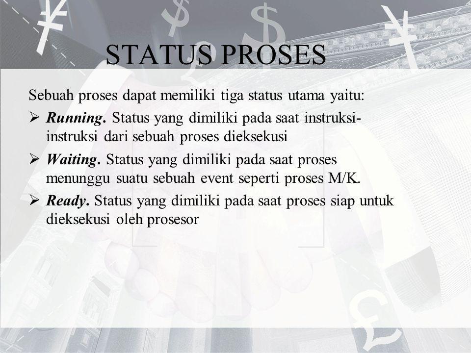 STATUS PROSES Sebuah proses dapat memiliki tiga status utama yaitu:  Running. Status yang dimiliki pada saat instruksi- instruksi dari sebuah proses
