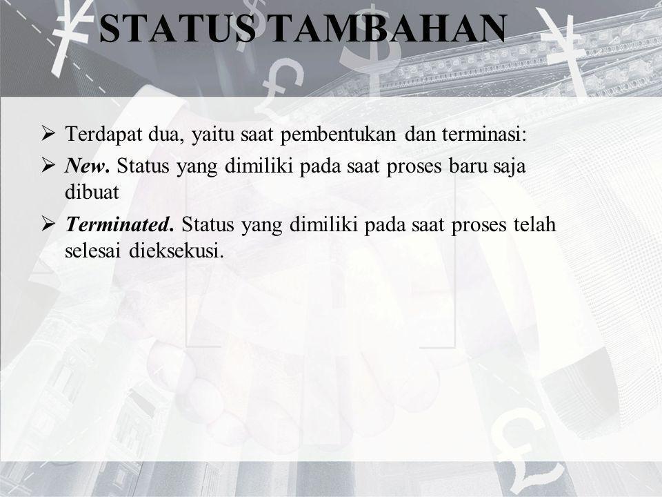 STATUS TAMBAHAN  Terdapat dua, yaitu saat pembentukan dan terminasi:  New. Status yang dimiliki pada saat proses baru saja dibuat  Terminated. Stat