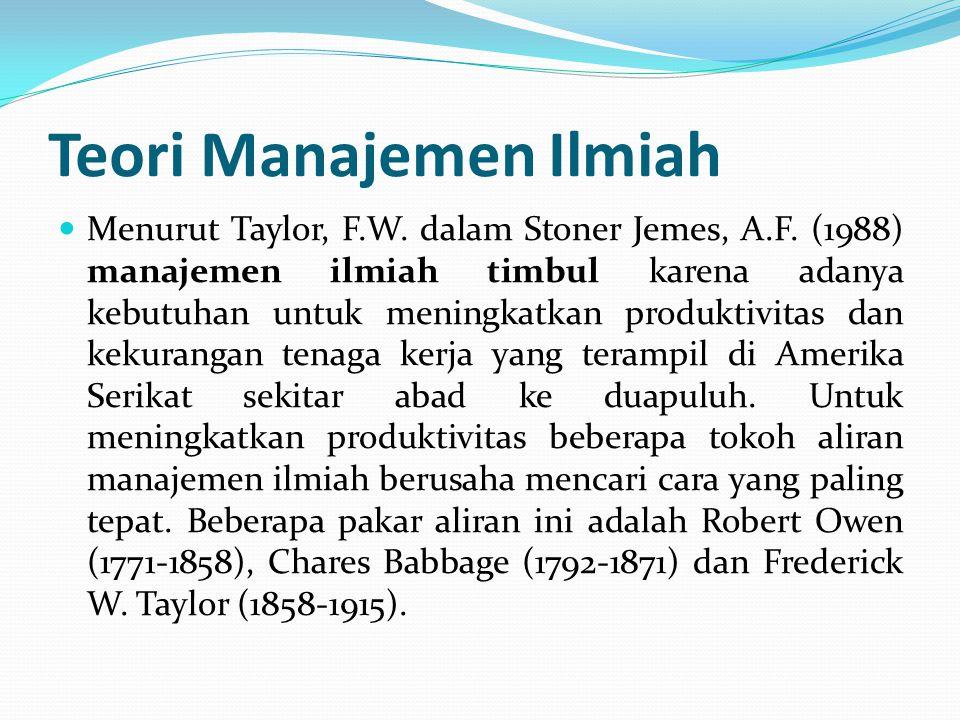 Teori Manajemen Ilmiah  Menurut Taylor, F.W. dalam Stoner Jemes, A.F. (1988) manajemen ilmiah timbul karena adanya kebutuhan untuk meningkatkan produ