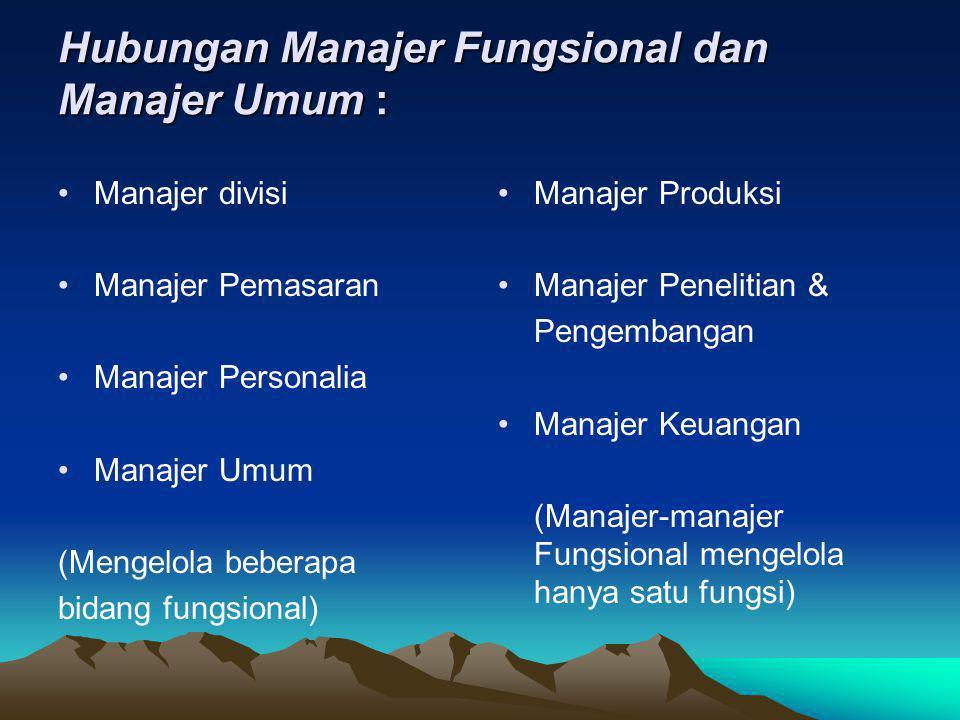 Hubungan Manajer Fungsional dan Manajer Umum : •Manajer divisi •Manajer Pemasaran •Manajer Personalia •Manajer Umum (Mengelola beberapa bidang fungsio