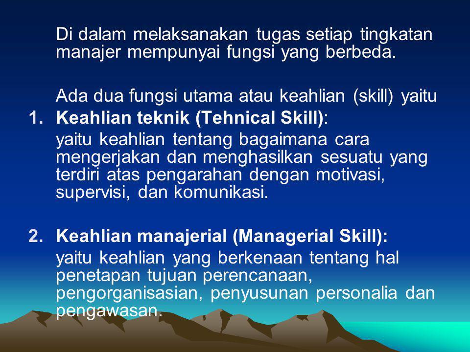 Di dalam melaksanakan tugas setiap tingkatan manajer mempunyai fungsi yang berbeda. Ada dua fungsi utama atau keahlian (skill) yaitu 1.Keahlian teknik