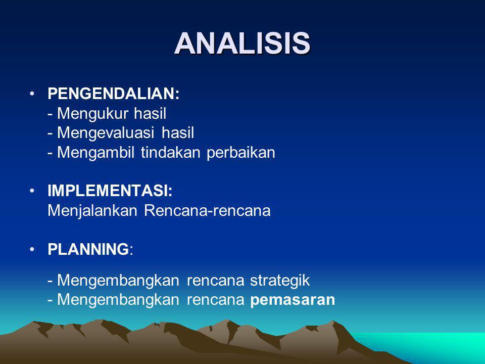 ANALISIS •PENGENDALIAN: - Mengukur hasil - Mengevaluasi hasil - Mengambil tindakan perbaikan •IMPLEMENTASI: Menjalankan Rencana-rencana •PLANNING: - M