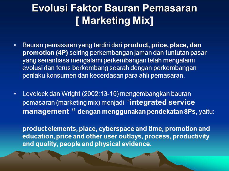 Evolusi Faktor Bauran Pemasaran [ Marketing Mix] •Bauran pemasaran yang terdiri dari product, price, place, dan promotion (4P) seiring perkembangan ja