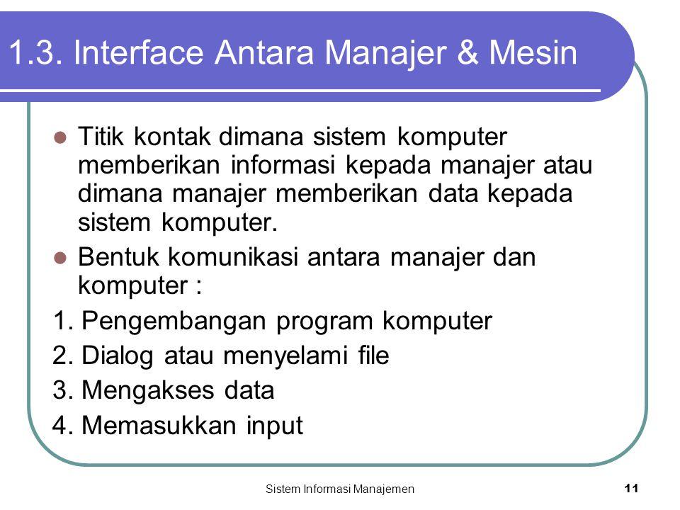 Sistem Informasi Manajemen11 1.3. Interface Antara Manajer & Mesin  Titik kontak dimana sistem komputer memberikan informasi kepada manajer atau dima