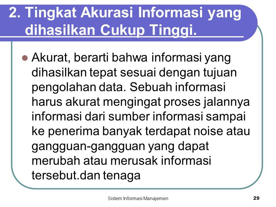 Sistem Informasi Manajemen29 2. Tingkat Akurasi Informasi yang dihasilkan Cukup Tinggi.  Akurat, berarti bahwa informasi yang dihasilkan tepat sesuai