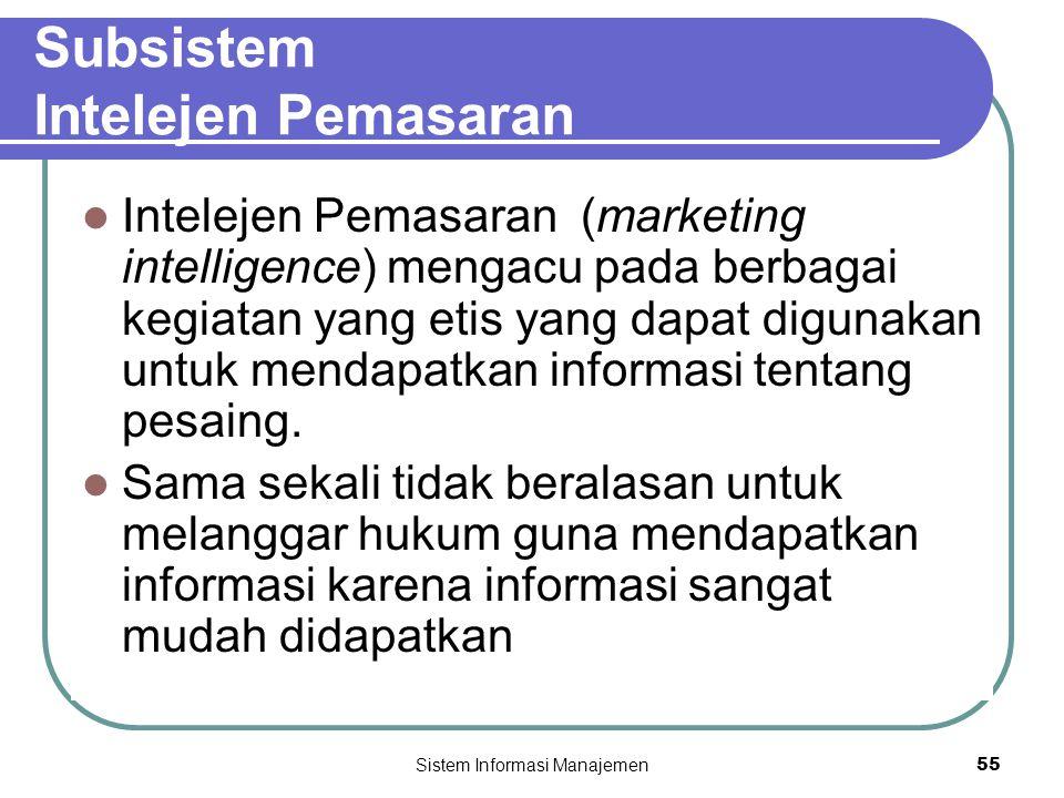 Sistem Informasi Manajemen55 Subsistem Intelejen Pemasaran  Intelejen Pemasaran (marketing intelligence) mengacu pada berbagai kegiatan yang etis yang dapat digunakan untuk mendapatkan informasi tentang pesaing.