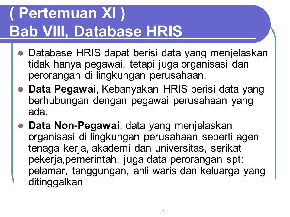 Sistem Informasi Manajemen56 ( Pertemuan XI ) Bab VIII, Database HRIS  Database HRIS dapat berisi data yang menjelaskan tidak hanya pegawai, tetapi juga organisasi dan perorangan di lingkungan perusahaan.
