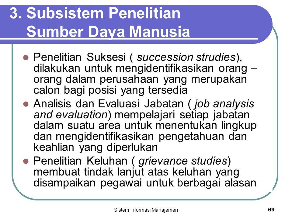 Sistem Informasi Manajemen69 3. Subsistem Penelitian Sumber Daya Manusia  Penelitian Suksesi ( succession strudies), dilakukan untuk mengidentifikasi