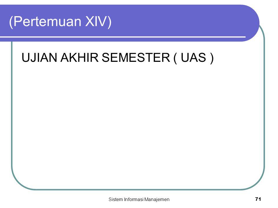 Sistem Informasi Manajemen71 (Pertemuan XIV) UJIAN AKHIR SEMESTER ( UAS )