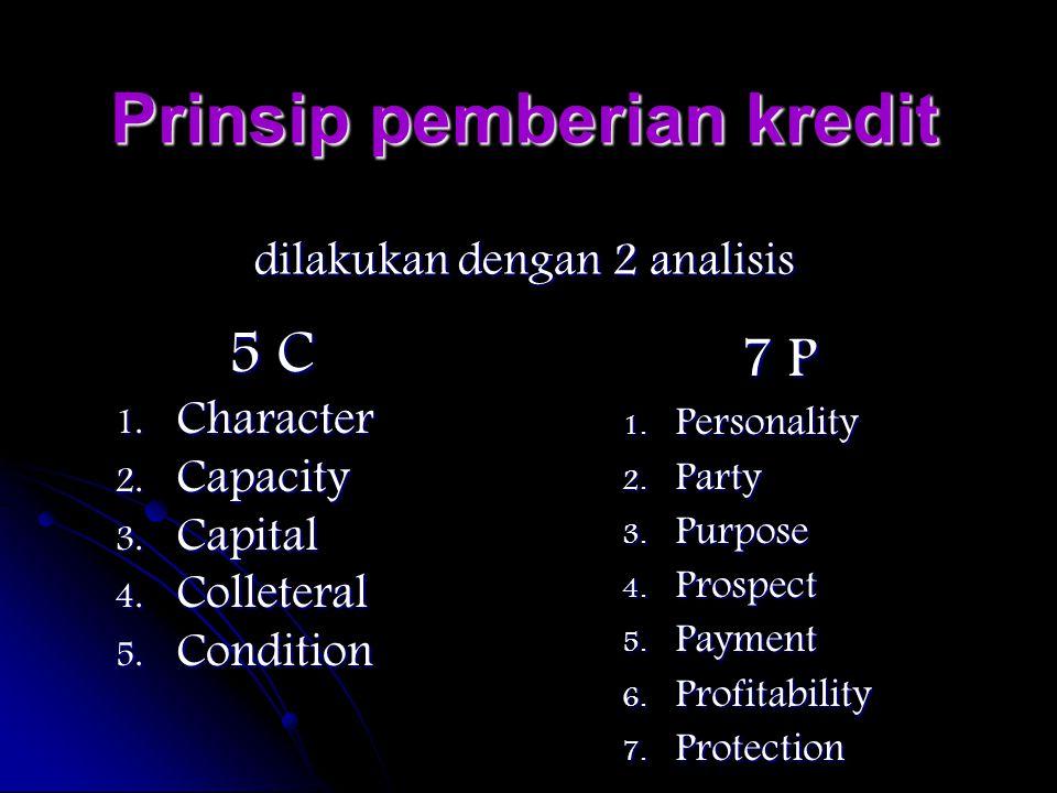 Prinsip pemberian kredit dilakukan dengan 2 analisis 5 C 1. C haracter 2. C apacity 3. C apital 4. C olleteral 5. C ondition 7 P 1. P ersonality 2. P