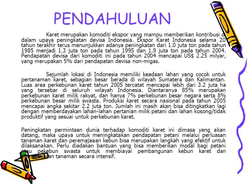 PENDAHULUAN Karet merupakan komoditi ekspor yang mampu memberikan kontribusi di dalam upaya peningkatan devisa Indonesia. Ekspor Karet Indonesia selam