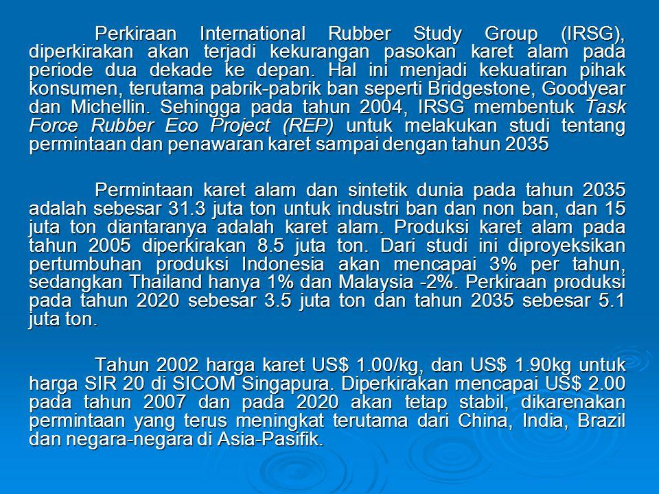 Perkiraan International Rubber Study Group (IRSG), diperkirakan akan terjadi kekurangan pasokan karet alam pada periode dua dekade ke depan. Hal ini m