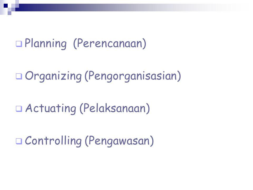  Planning (Perencanaan)  Organizing (Pengorganisasian)  Actuating (Pelaksanaan)  Controlling (Pengawasan)