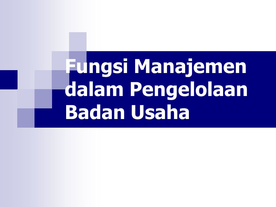 Fungsi Manajemen dalam Pengelolaan Badan Usaha