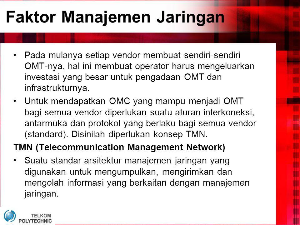 •Pada mulanya setiap vendor membuat sendiri-sendiri OMT-nya, hal ini membuat operator harus mengeluarkan investasi yang besar untuk pengadaan OMT dan infrastrukturnya.