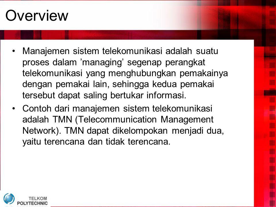 Overview •Manajemen sistem telekomunikasi adalah suatu proses dalam 'managing' segenap perangkat telekomunikasi yang menghubungkan pemakainya dengan p