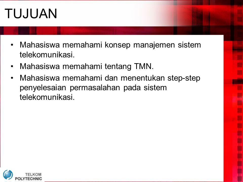 TUJUAN •Mahasiswa memahami konsep manajemen sistem telekomunikasi. •Mahasiswa memahami tentang TMN. •Mahasiswa memahami dan menentukan step-step penye