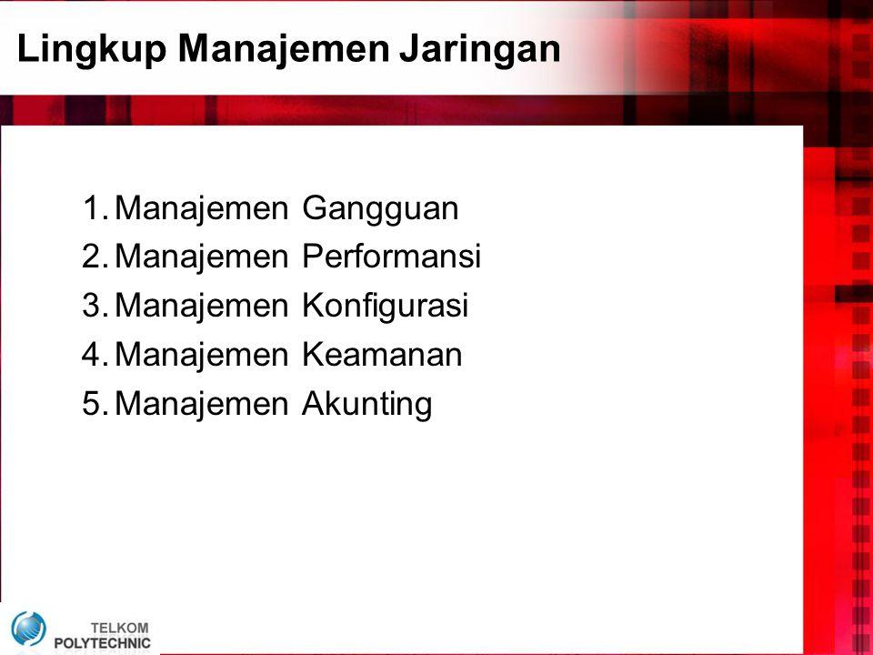 Lingkup Manajemen Jaringan 1.Manajemen Gangguan 2.Manajemen Performansi 3.Manajemen Konfigurasi 4.Manajemen Keamanan 5.Manajemen Akunting
