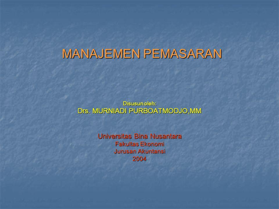 MANAJEMEN PEMASARAN Disusun oleh: Drs.