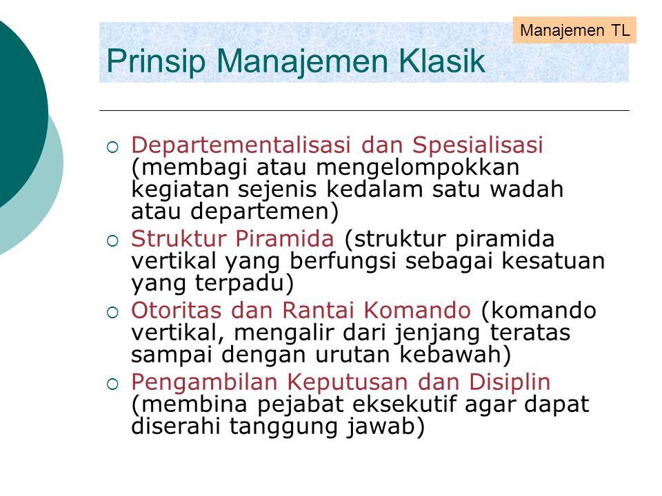Prinsip Manajemen Klasik  Departementalisasi dan Spesialisasi (membagi atau mengelompokkan kegiatan sejenis kedalam satu wadah atau departemen)  Str
