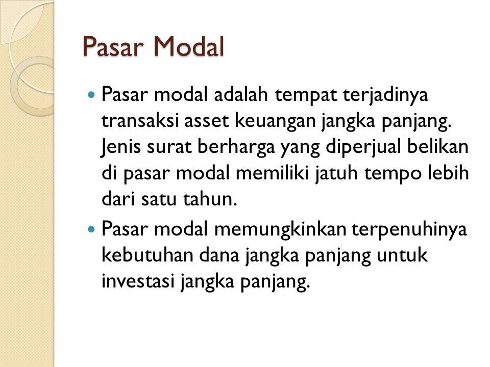 Pasar Modal  Pasar modal adalah tempat terjadinya transaksi asset keuangan jangka panjang. Jenis surat berharga yang diperjual belikan di pasar modal
