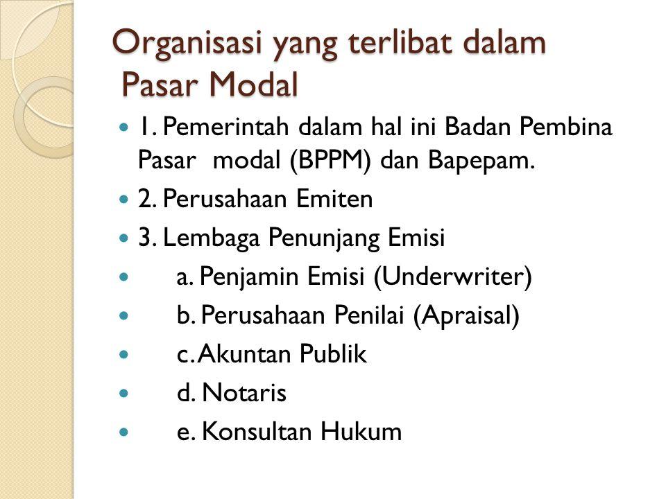 Organisasi yang terlibat dalam Pasar Modal  1. Pemerintah dalam hal ini Badan Pembina Pasar modal (BPPM) dan Bapepam.  2. Perusahaan Emiten  3. Lem