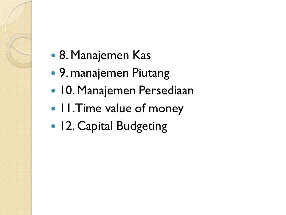  8. Manajemen Kas  9. manajemen Piutang  10. Manajemen Persediaan  11. Time value of money  12. Capital Budgeting