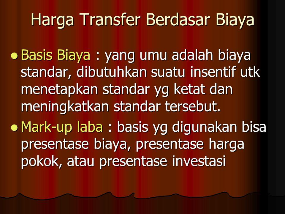 Harga Transfer Berdasar Biaya  Basis Biaya : yang umu adalah biaya standar, dibutuhkan suatu insentif utk menetapkan standar yg ketat dan meningkatkan standar tersebut.