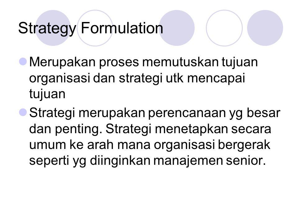 Strategy Formulation  Merupakan proses memutuskan tujuan organisasi dan strategi utk mencapai tujuan  Strategi merupakan perencanaan yg besar dan penting.