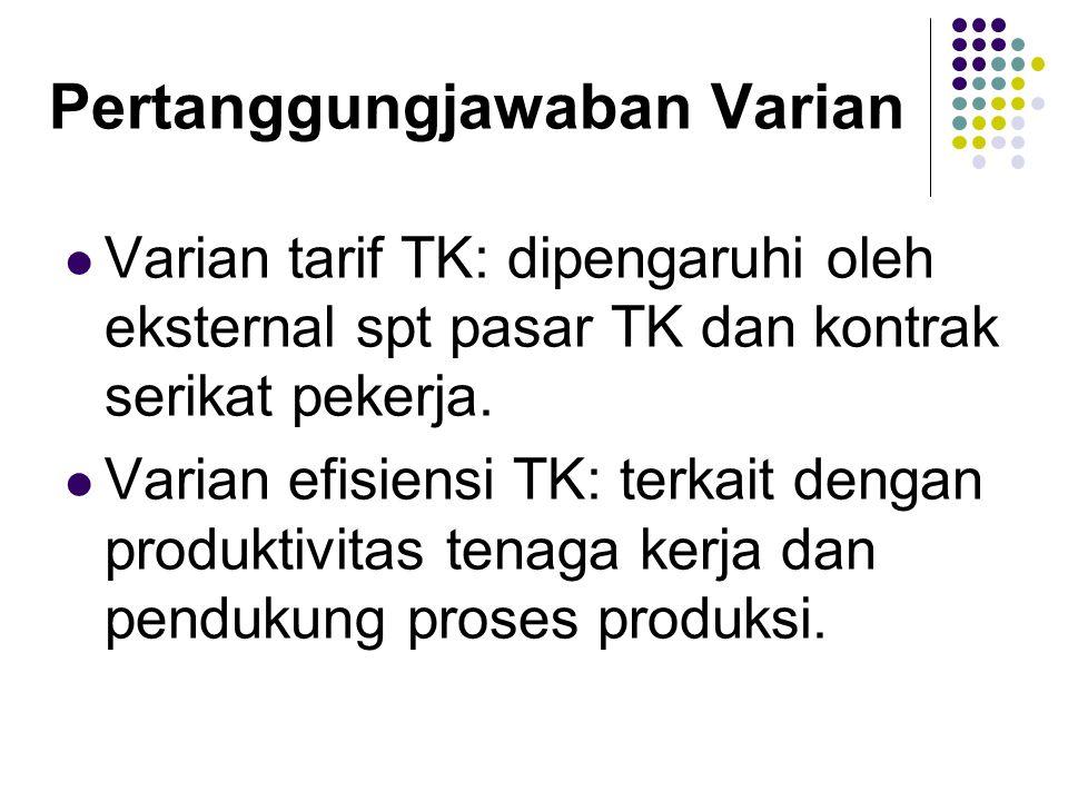 Pertanggungjawaban Varian  Varian tarif TK: dipengaruhi oleh eksternal spt pasar TK dan kontrak serikat pekerja.