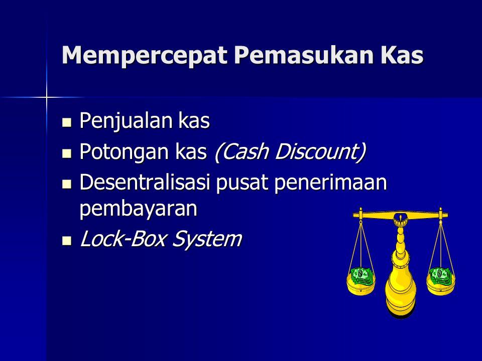 Mempercepat Pemasukan Kas  Penjualan kas  Potongan kas (Cash Discount)  Desentralisasi pusat penerimaan pembayaran  Lock-Box System