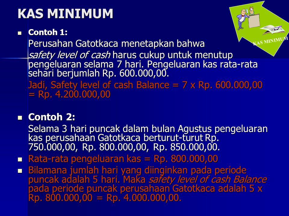 KAS MINIMUM  Contoh 1: Perusahan Gatotkaca menetapkan bahwa safety level of cash harus cukup untuk menutup pengeluaran selama 7 hari. Pengeluaran kas
