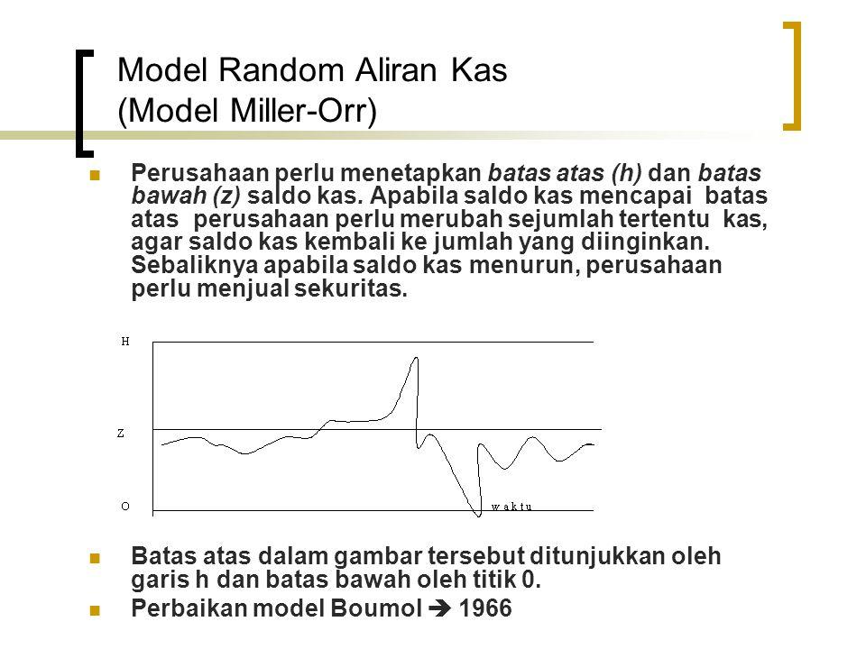 Model Random Aliran Kas (Model Miller-Orr)  Perusahaan perlu menetapkan batas atas (h) dan batas bawah (z) saldo kas. Apabila saldo kas mencapai bata