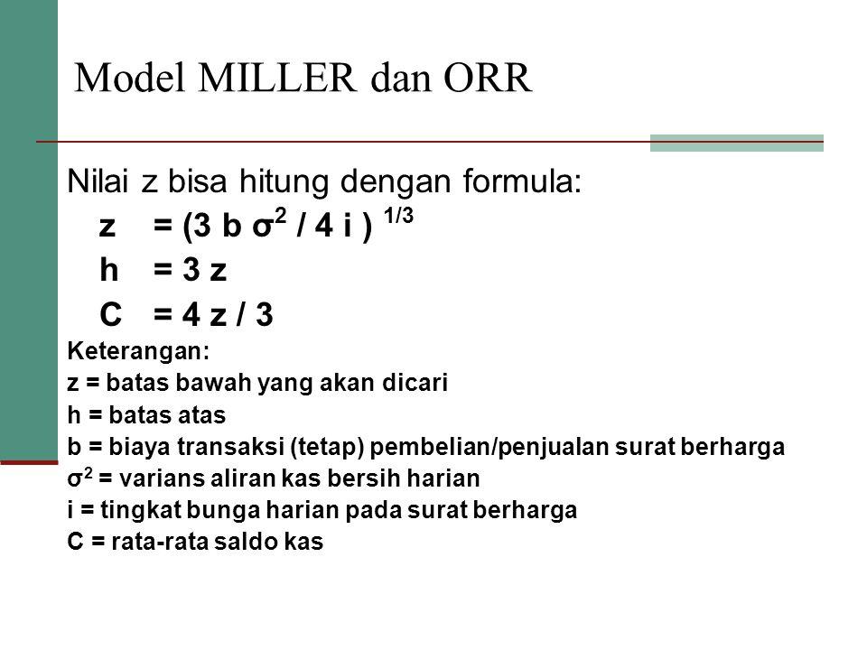 Model MILLER dan ORR Nilai z bisa hitung dengan formula: z= (3 b σ 2 / 4 i ) 1/3 h= 3 z C= 4 z / 3 Keterangan: z = batas bawah yang akan dicari h = ba